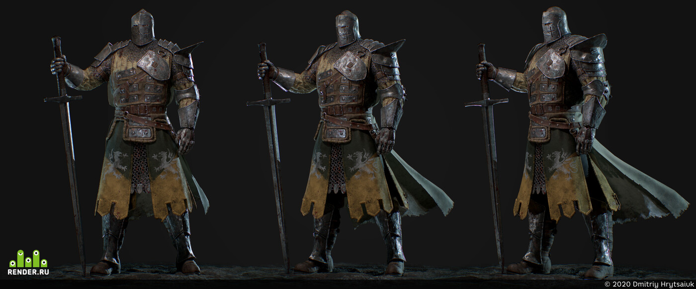Digital 3D, game art, for honor, the warden, Middle Ages, fantesy, Knights, 3d character, ZBrush, Maya