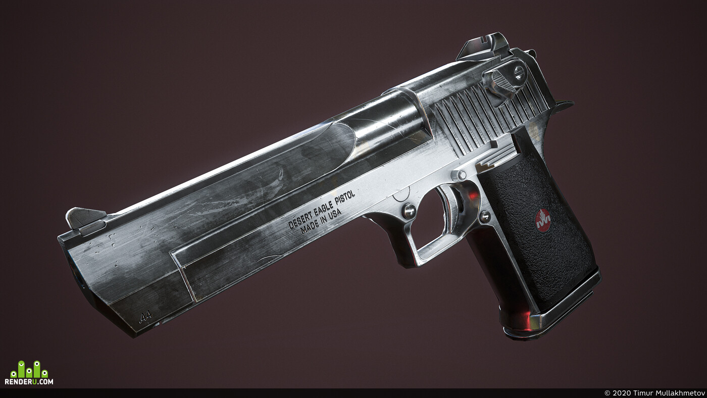 3D Studio Max, 3d, Desert eagle, model, cgi, fullcgi, Game-ready