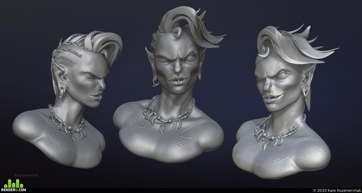 орк, Портрет, Бюст, скульптинг, персонаж