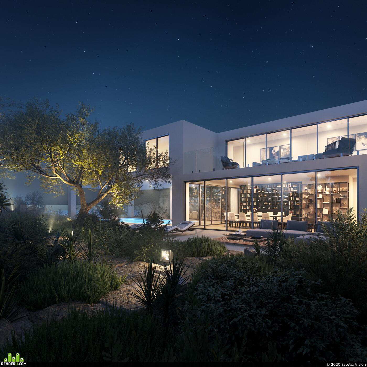 архитектурная визуализация, 3д архитектура, архитектура, 3D архитектура, архивиз, испания, дом на холме