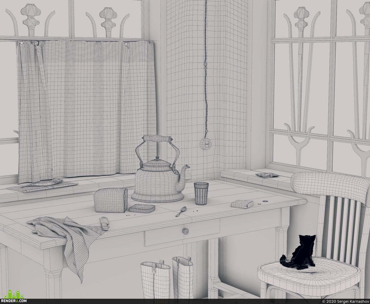 Визуализация, интерьер, Blender, cycles
