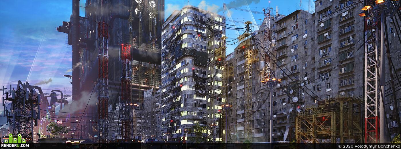 ConceptArt, cyberpunk, digitalart, environment, Exterior, futuristic, game, neon, sci-fi, scifi