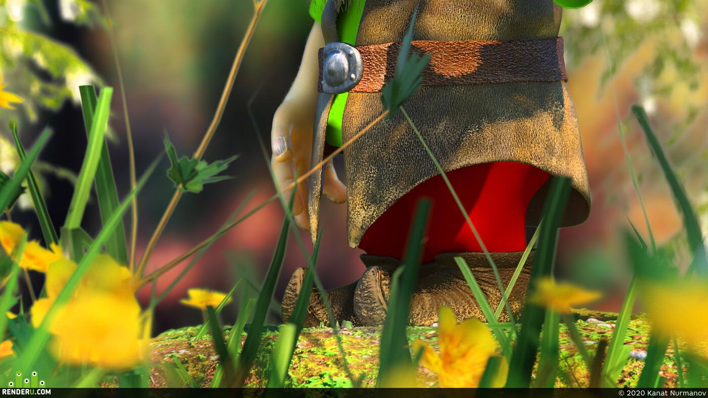 дедушка, старик, мухомор, грибы, бабочка, 3ds Max, Zbrush, лес, Макро