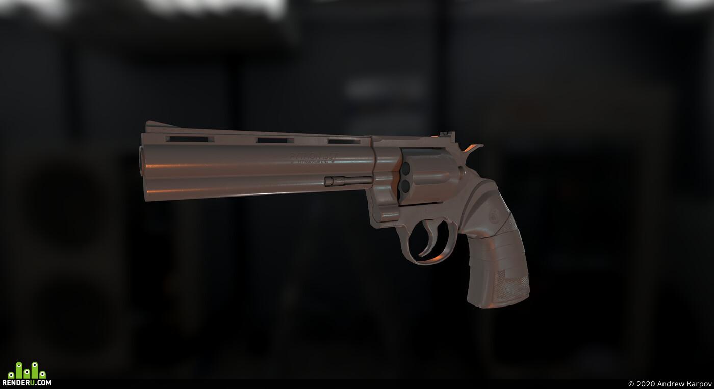 colt python, colt, low poly, lowpoly, gun, weapon, game ready, кольт, револьвер