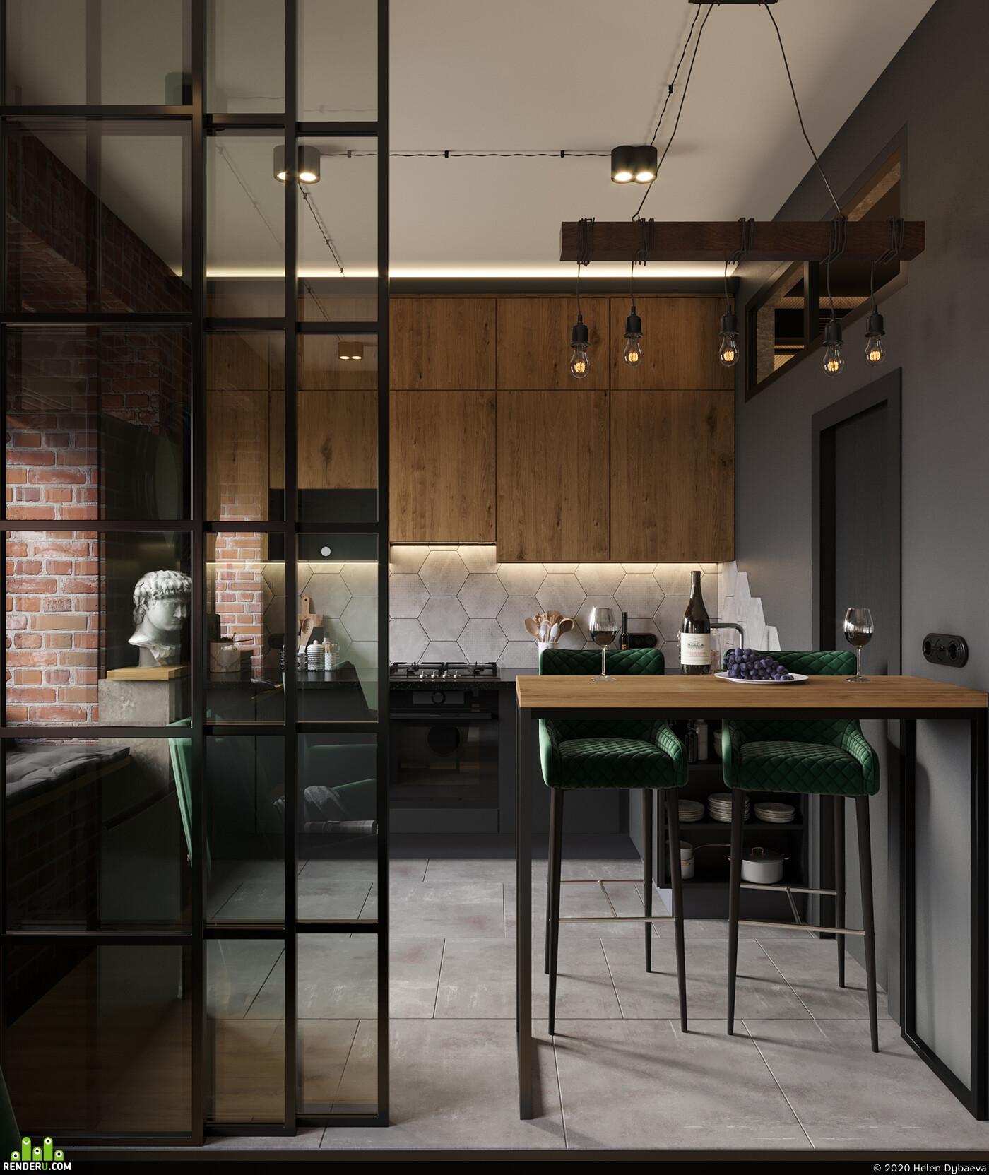 kitchen, Vis, visualizatiion, design, interior