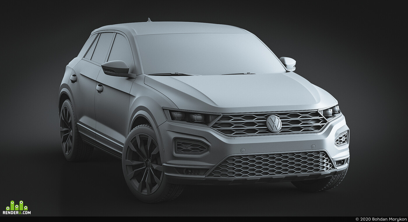 blender, cycles, Volkswagen T-Rock, cars, SUV, clay