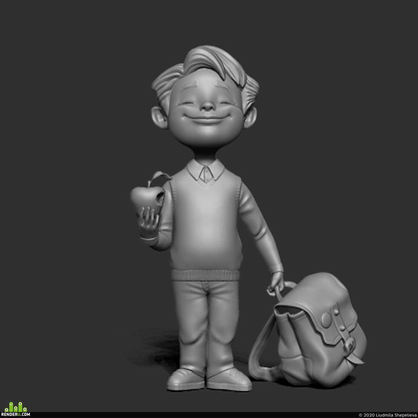 3d, 3dart, Character, 3dcharacter, sculpt, speedsculpt, Zbrush, school, boy