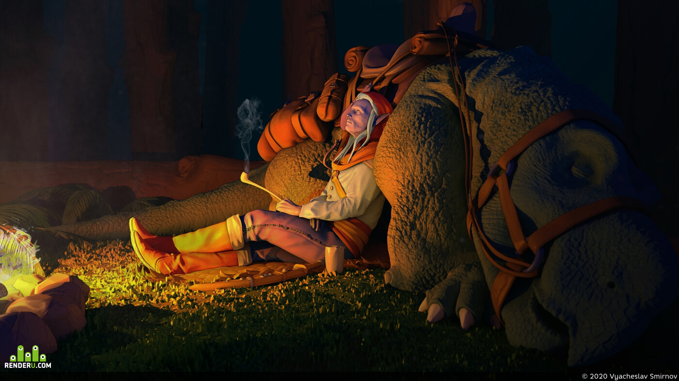 elf, Elves, wood, halt, campfire, beast, beasts
