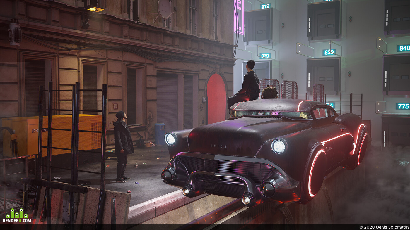 city, cyberpunk, future, megapolis, sci-fi, streets, hover car, flying car, cars, retro futuristic