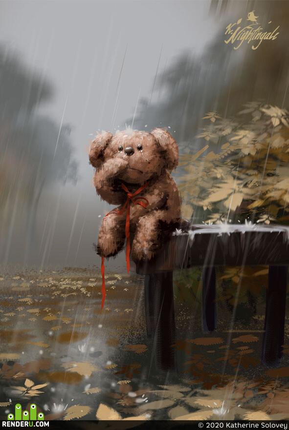 осенний дождь, мишка, плюшевый мишка, дождь, скамейка, листья, грусть, игрушка