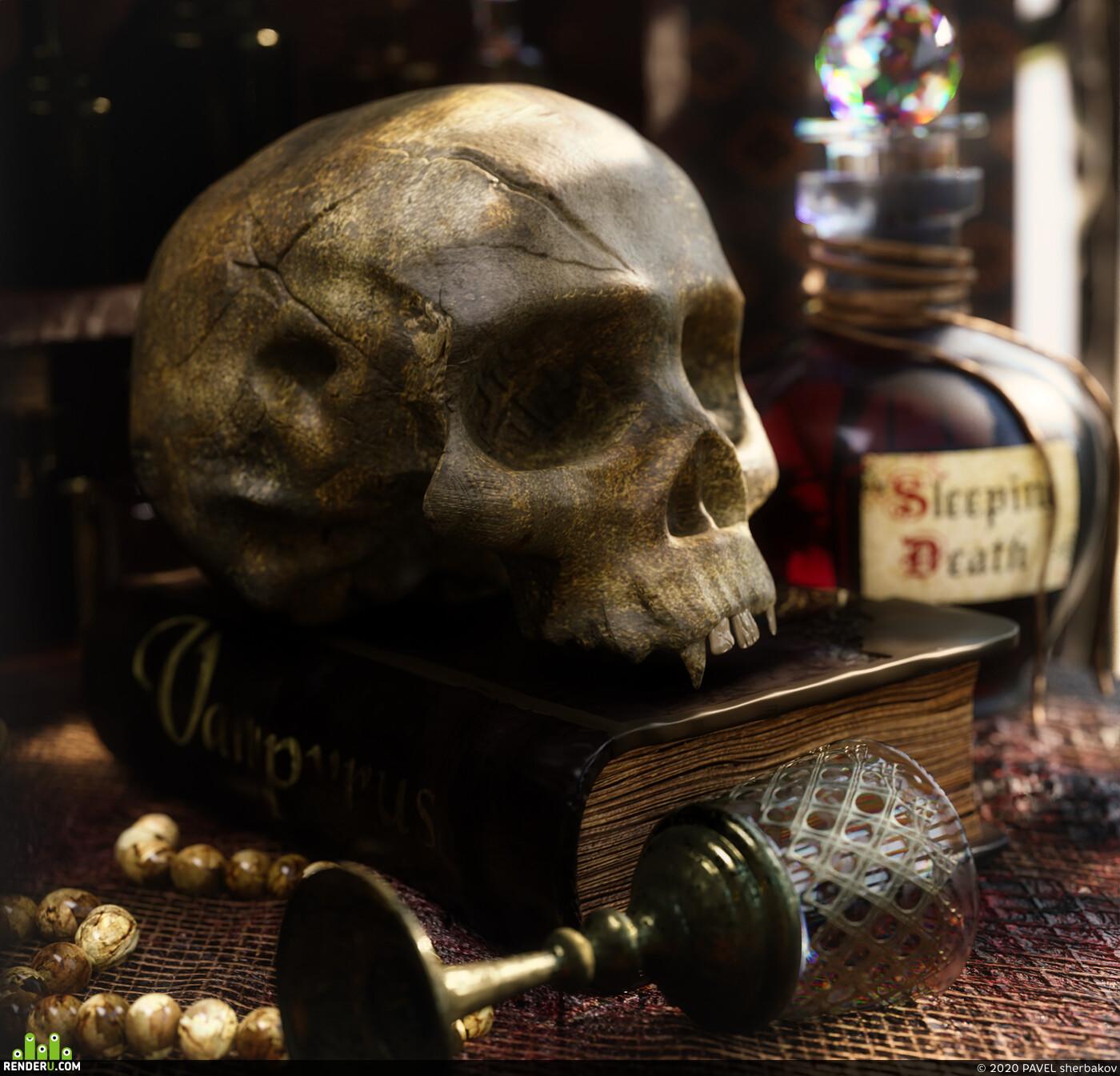 VAMPIRES HUNTER ROOM, skull, book, old book, vamprire, bloodborne