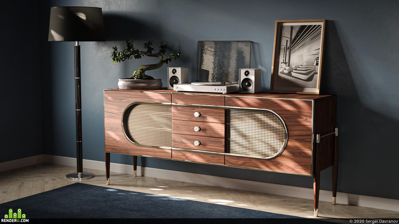 мебель, комод, Предметная визуализация, Предметная визуализация мебели, интерьер