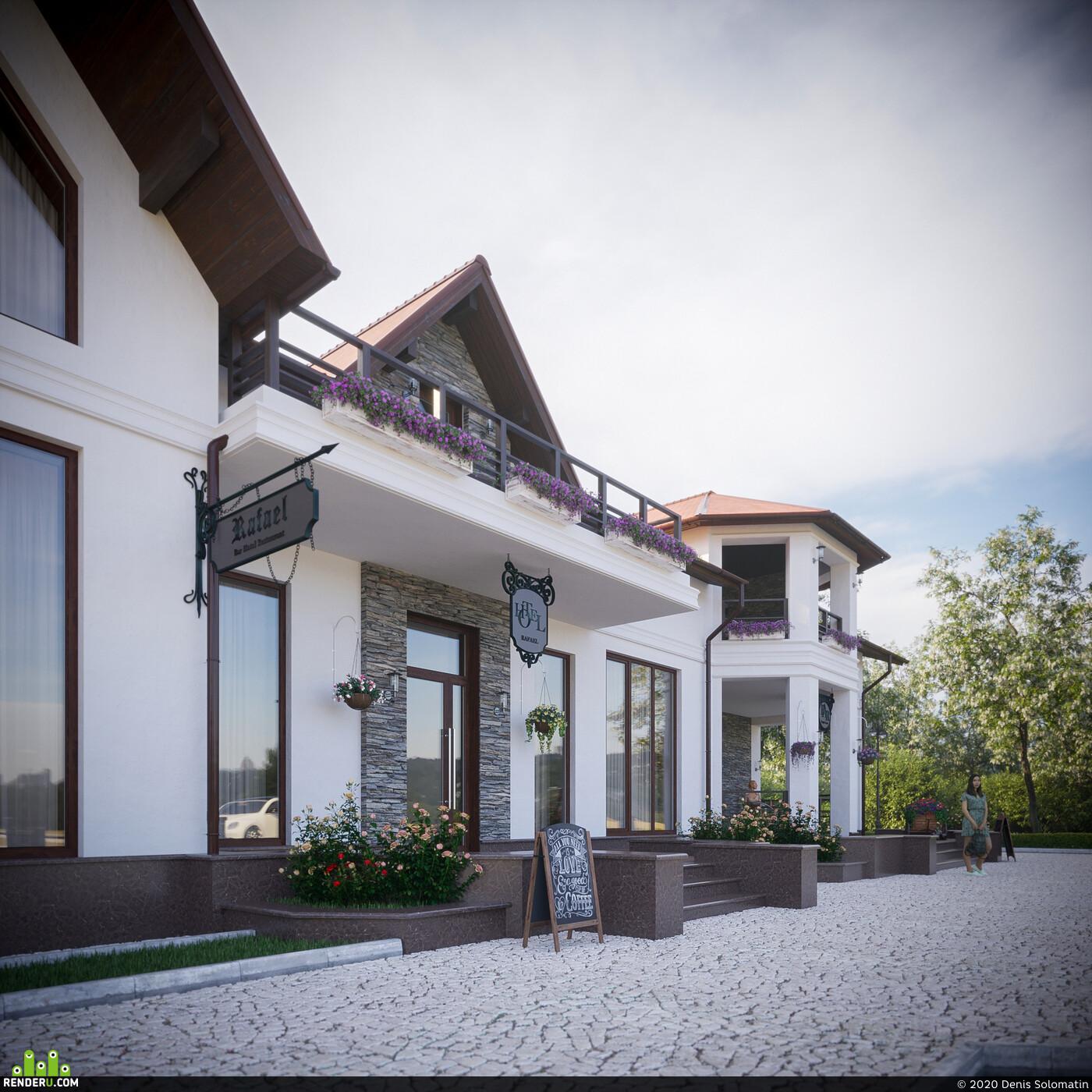 Exterior, 3d exterior, exterior visualisation, restaurant design, Public building, public space, 3d architecture public building, 3D Architecture, architecture, architectural visualization