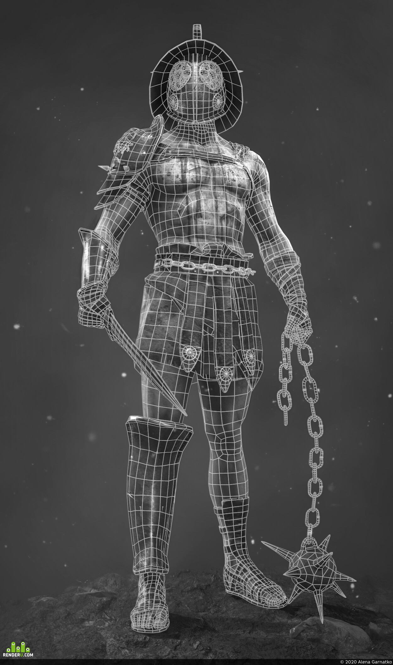 3d, art, Character, game ready, real time render, cg art, model warrior, gladiator, low-poly