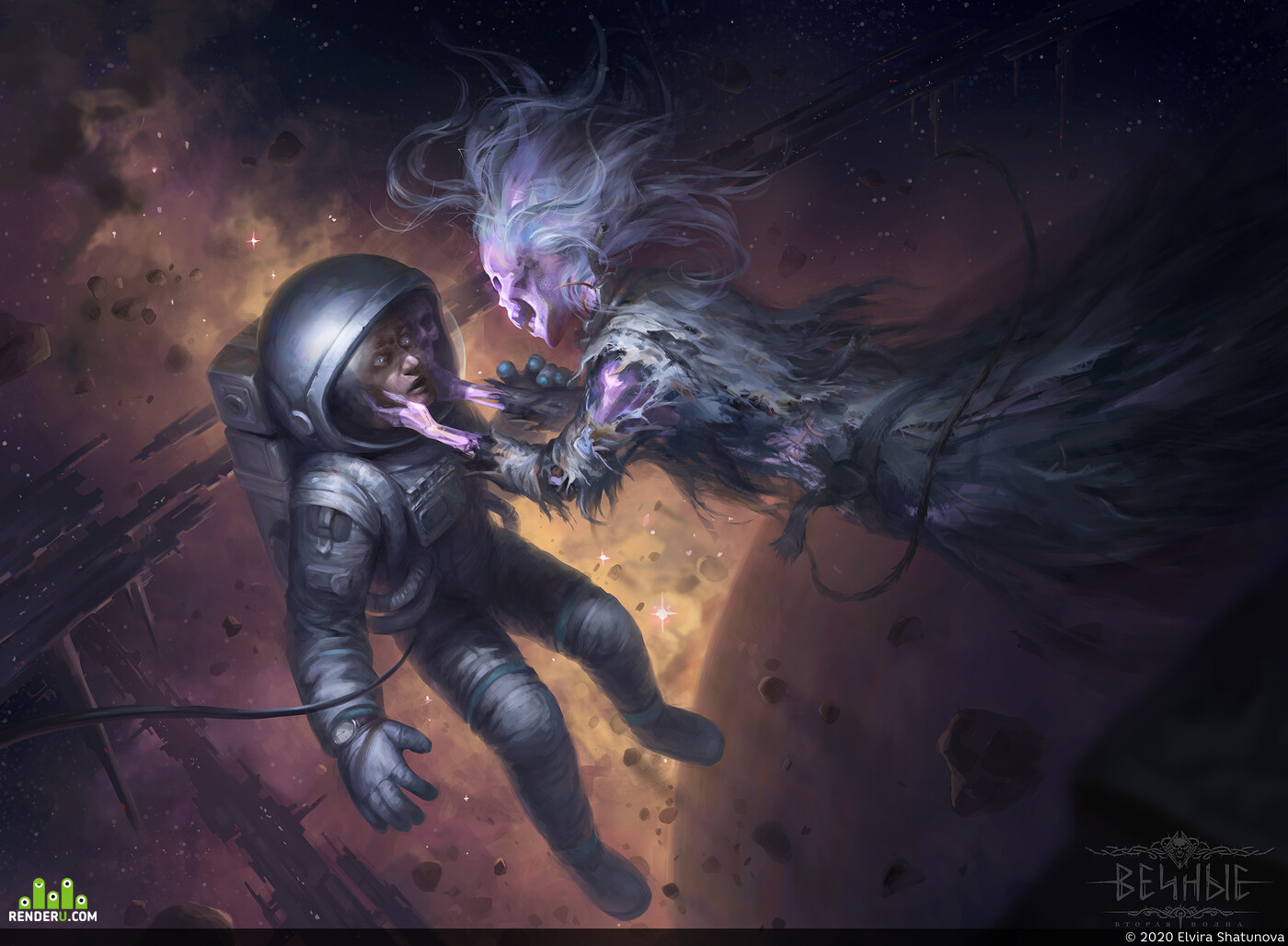 Eternal, Ghost, astronaut, Space, Horror, cosmonaut, planet, stars