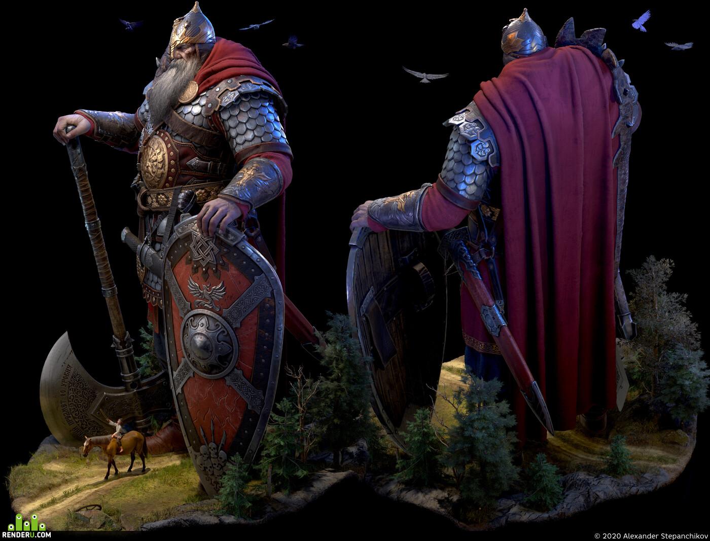 богатырь, Святогор, фентези, герой, Гигант, реалтайм, мифы, легенды, Лошадь, Пацан