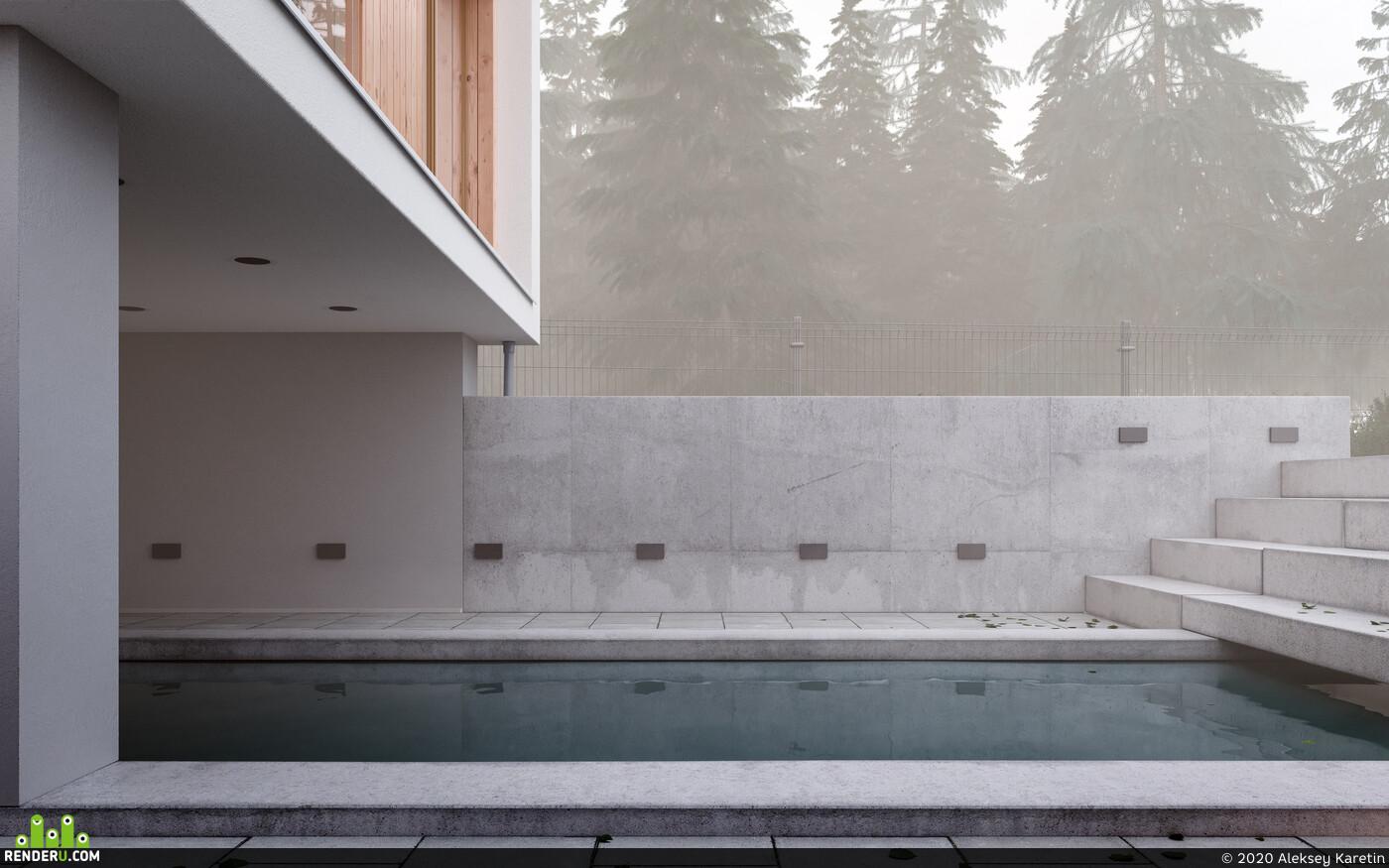 архитектурная визуализация, 3D архитектура, жилой дом, атмосфера, атмосфера уюта, Вечернее освещение, коронарендер, рендеркорона, корона Архитектурнаявизуализация