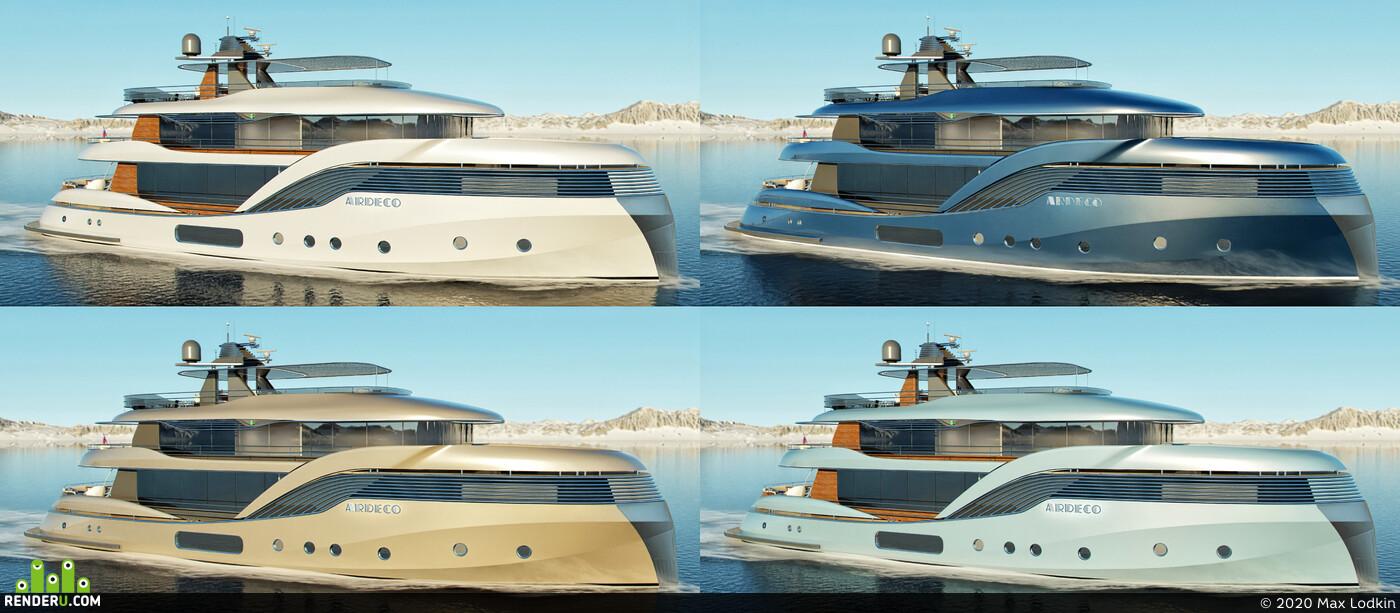 моторнаяяхта, яхта, артдеко, Экстерьер, лодка, Арт-Деко, 3дяхта, олдскул, ретрояхта