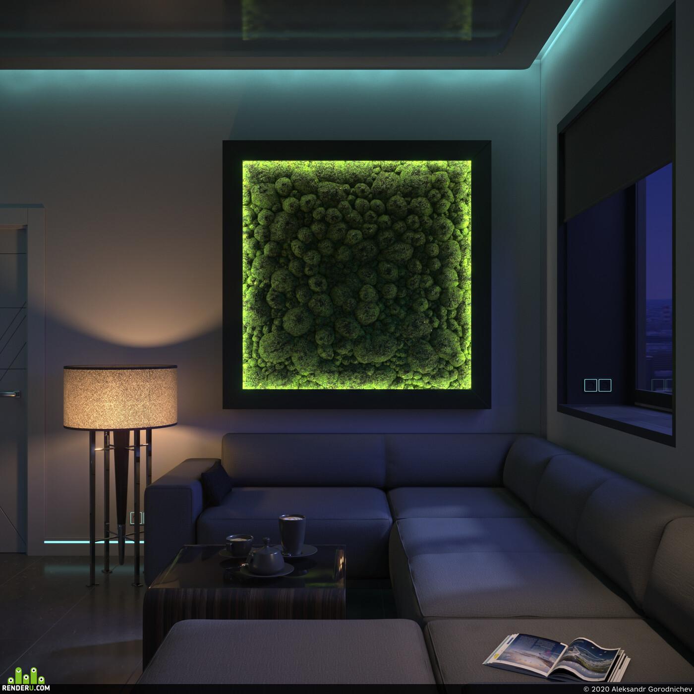 3ds Max Corona Renderer, визуализация интерьера, kitchen