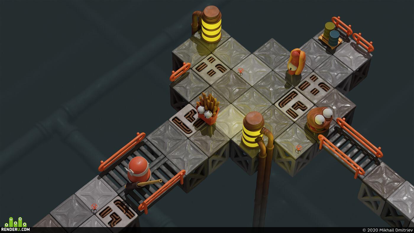 Ниндзи, Персонажи, Дизайн уровней, геймдизайн, Gameplay & Level Design, gameart, game, gamedevelopment, game asset, Рендер-арт