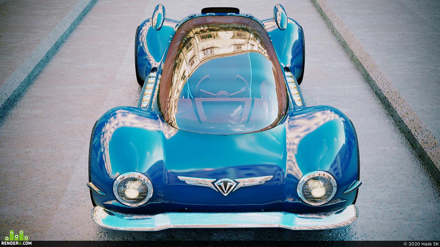 retro futuristic, retro_fan, newRetroWave, Картун (Cartoon), cars, concept car, concept, concept-art, concept_art, 3dconcept