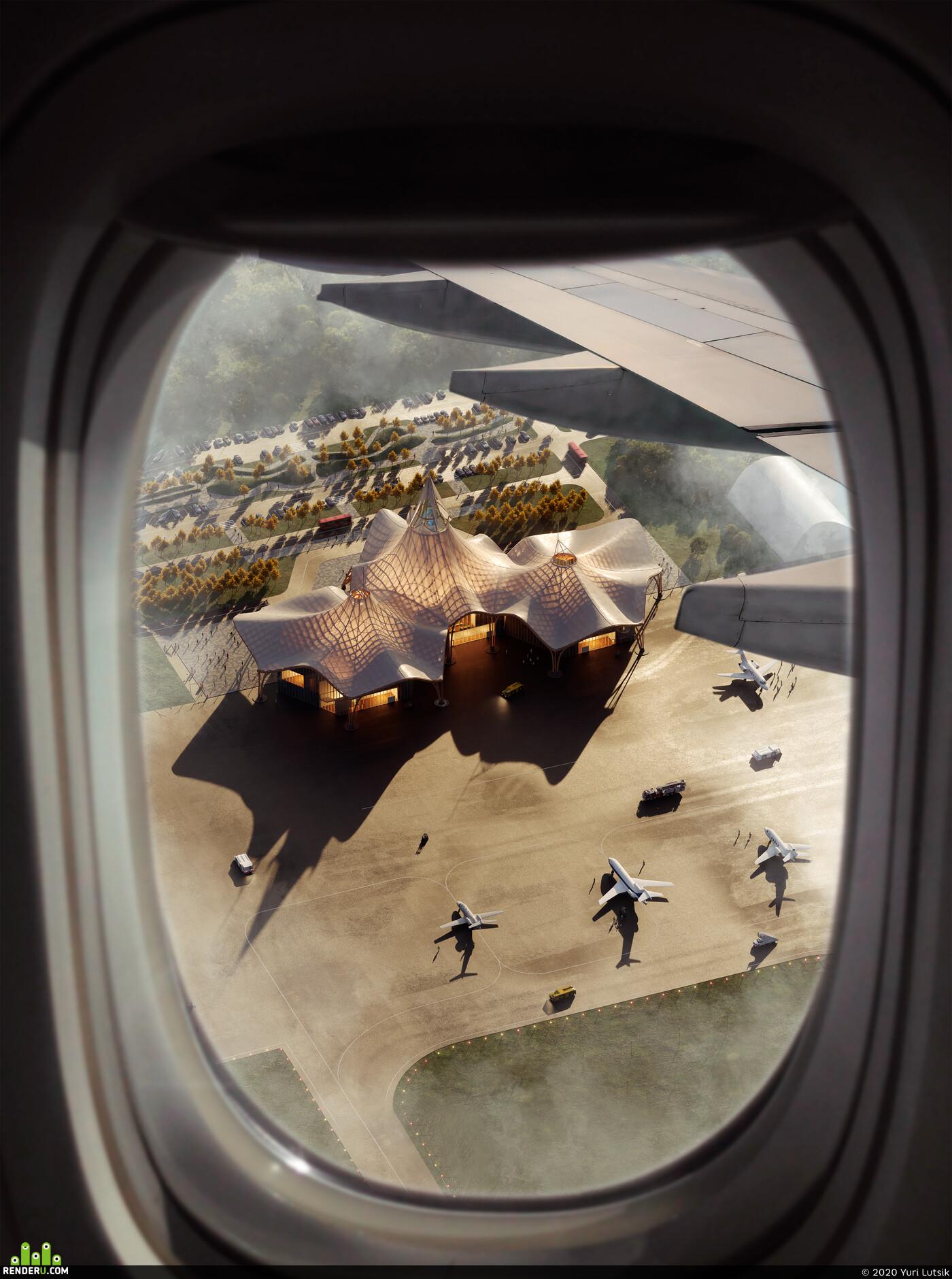 airport, architecture, Corona Renderer, 3dsmax,corona,