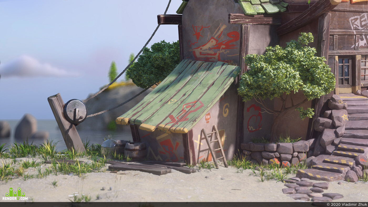 Maya, Tavern by the road, octane renderer, texture paint, texture, river house, 3dmodeling
