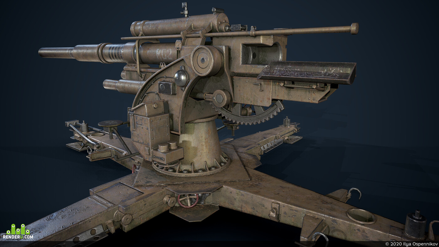 Game props, Germany, artillery, Flak 88, low poly, low-poly
