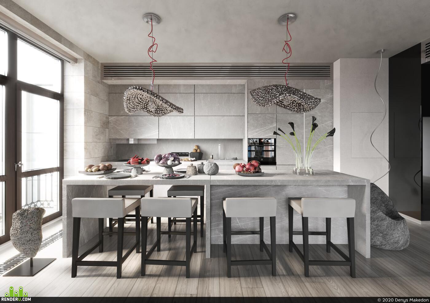 apartament, kitchen, cutlery