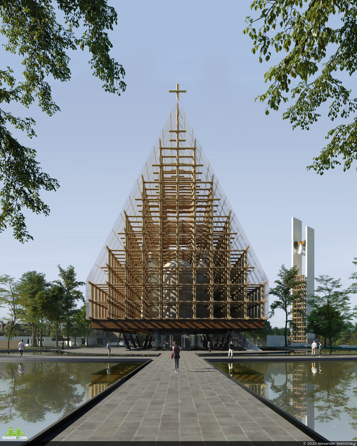 architecture, visualisation, architecture, interior, corona,, 3D Architecture, Archiviz, architectural visualization, church, wood
