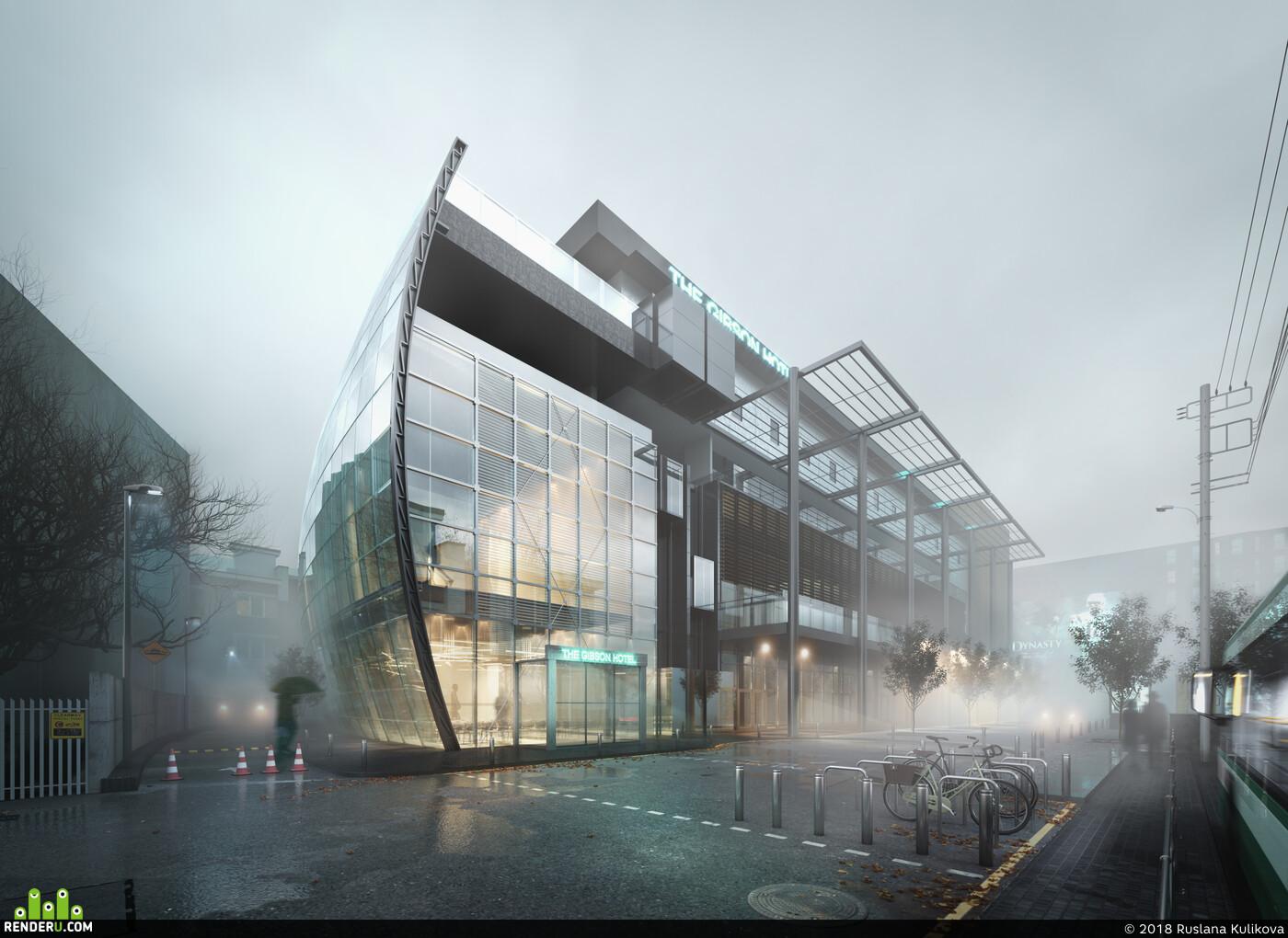 Exterior, exterior visualisation, 3d exterior, exteriors, hotel, Fog, rain, architecture, 3D Architecture, archvis
