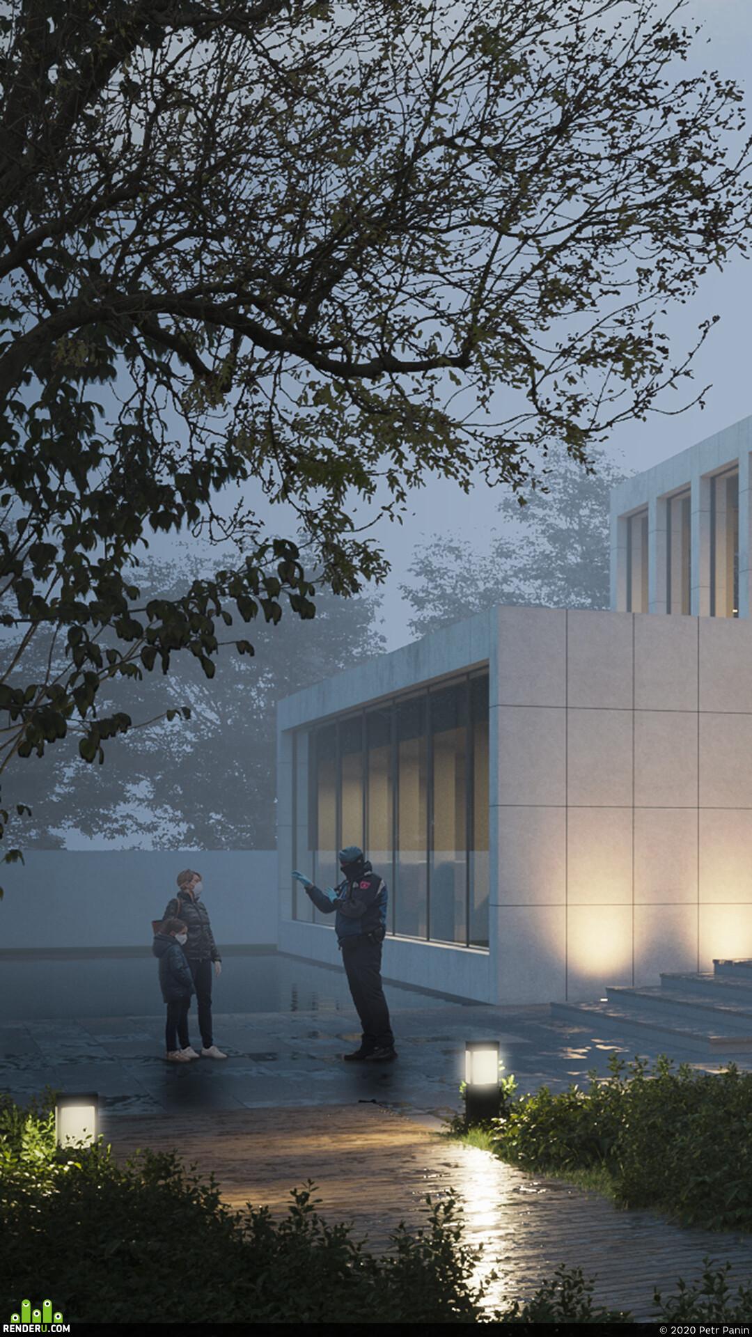 Exterior, exterior visualisation, 3ds Max, coronarenderer, Adobe Photoshop, Fog, architecture