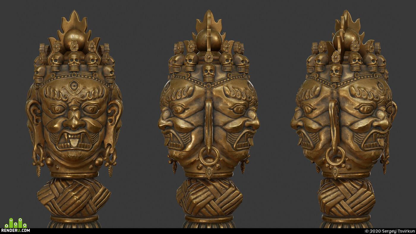 пхурба, оружие, Артифакт, нож, металл, лоуполи, Кинжал, дизайн, реликвия, ритуал