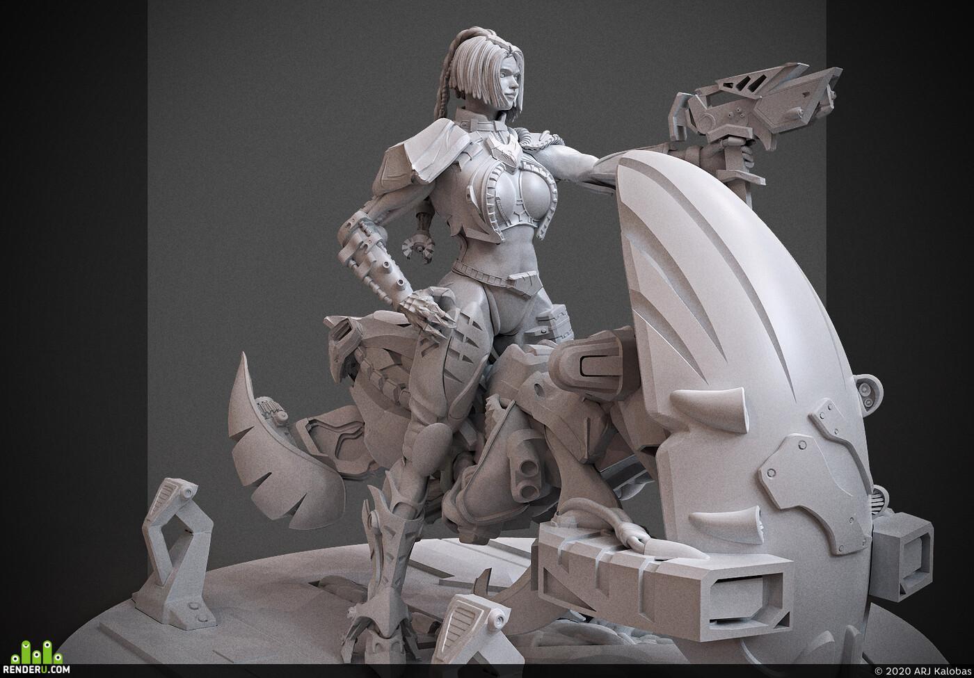Digital 3D, 3D Printing, Science Fiction, Mecha, Character Modeling, cyberpunk, miniature, Cybersplit, arjkalobas