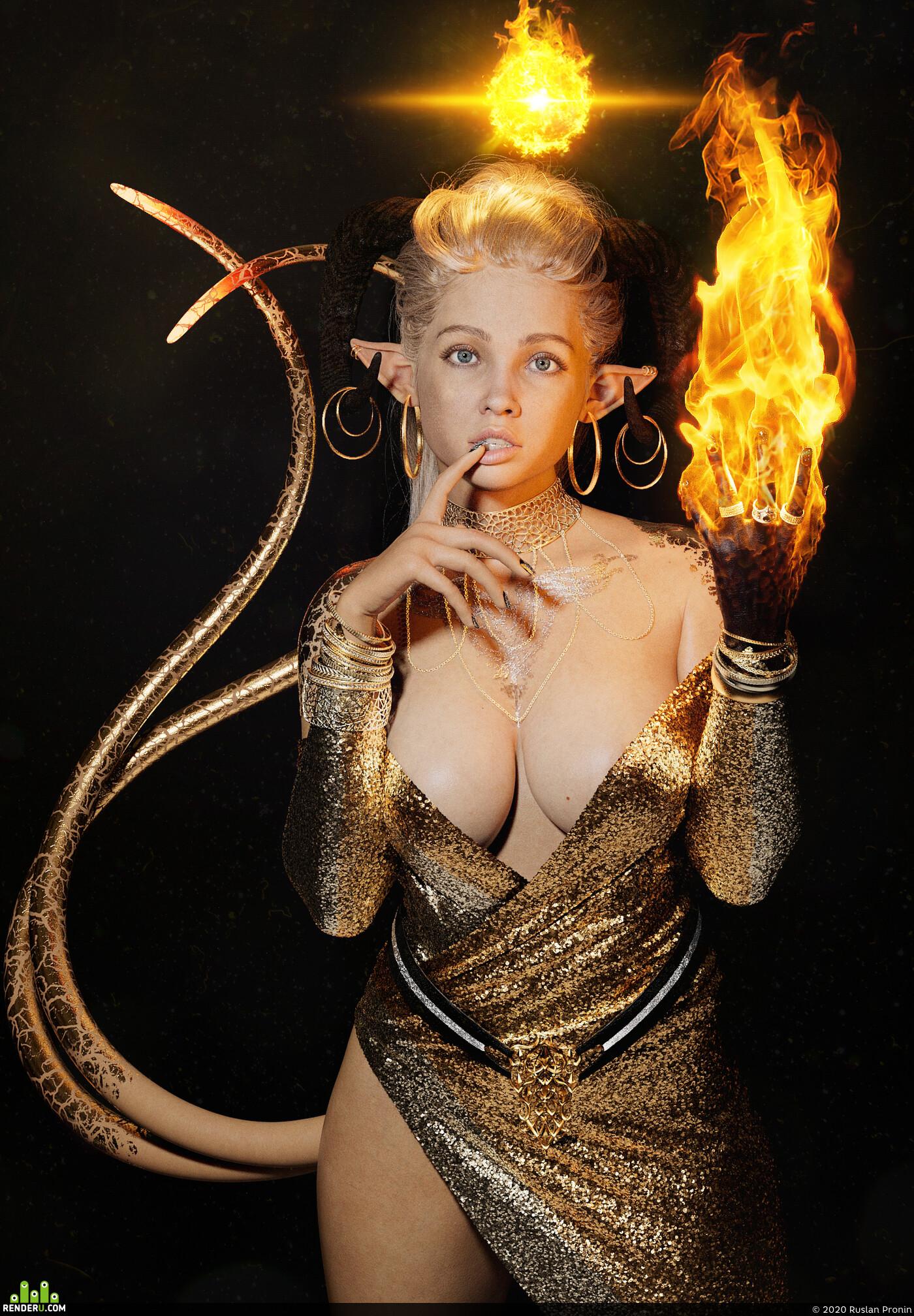 3dgirl, demoness, flame