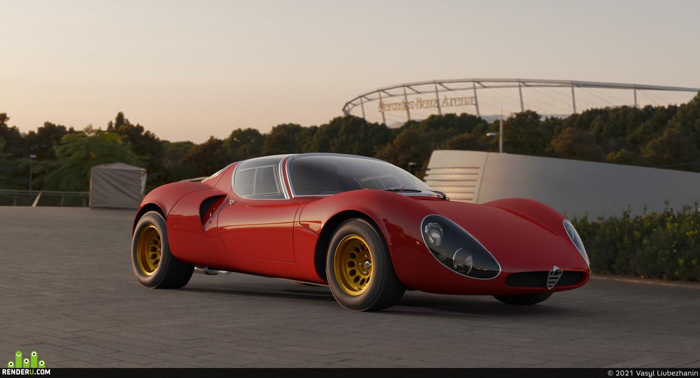 alfa romeo, car, 3d render, sunshine, classic cars