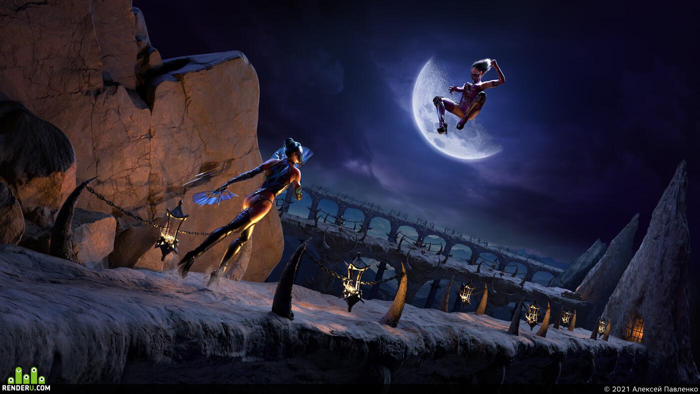 Mortal Kombat, kitana, mileena, girl, Ninja Weapon, moon, woman, women, sexy, Fantasy
