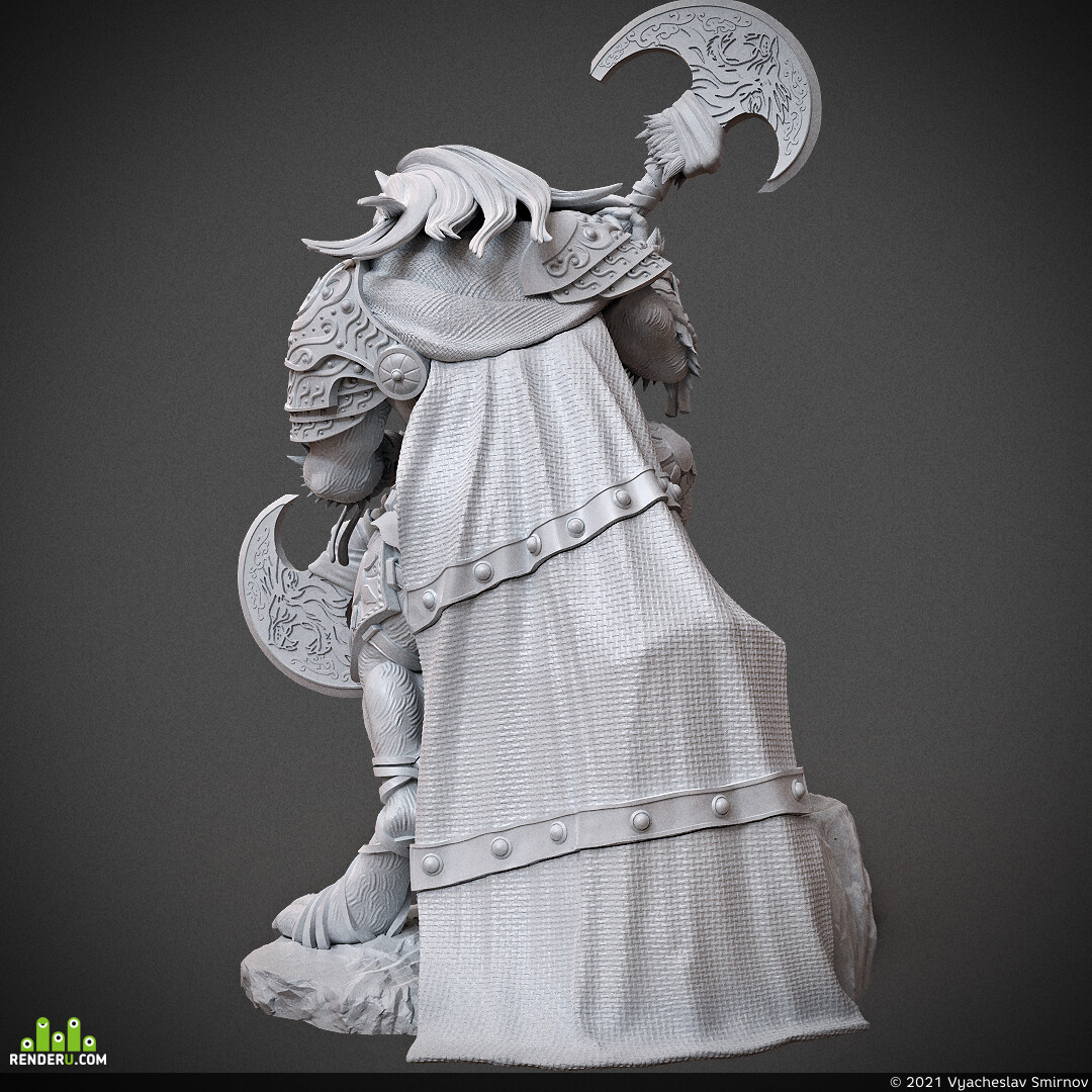 Digital 3D, 3D Printing, Fantasy, Board & Card Game Art, Character Modeling, miniature, arjkalobas, sculpt, 3dprint