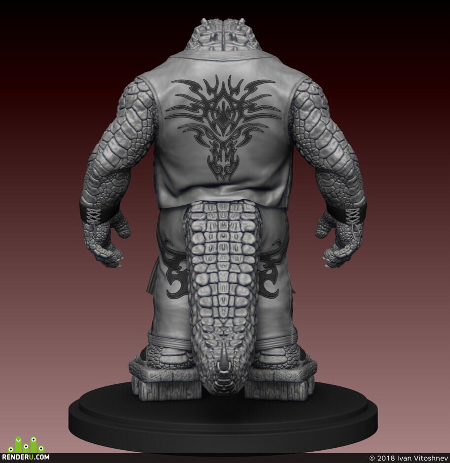zbrushcharacter, Characters, marvelousdesigner, alligator, crocodile, 3D Sketches
