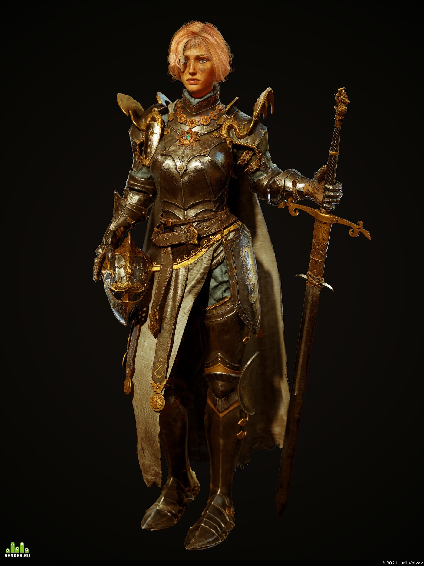 Digital 3D, Real-time, fantasy, game art, Character Modeling, dragon, knight, girl, warrior, midieval