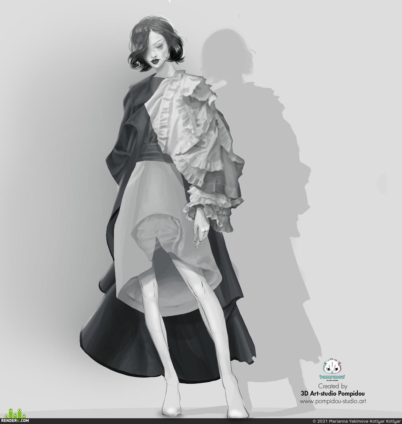 3д модели, Анимация, 3д одежда, 3д моделирование, девушка, 3d уроки на русском, marvelous designer 9