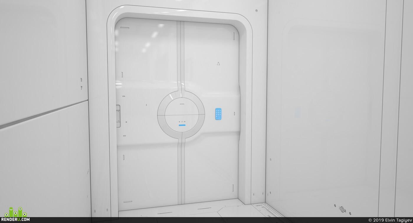 лаборатория, скайфай, скай фай, Коридор, интерьер, дизайн интерьера, медицина, будущее, футуристический, твердая поверхность