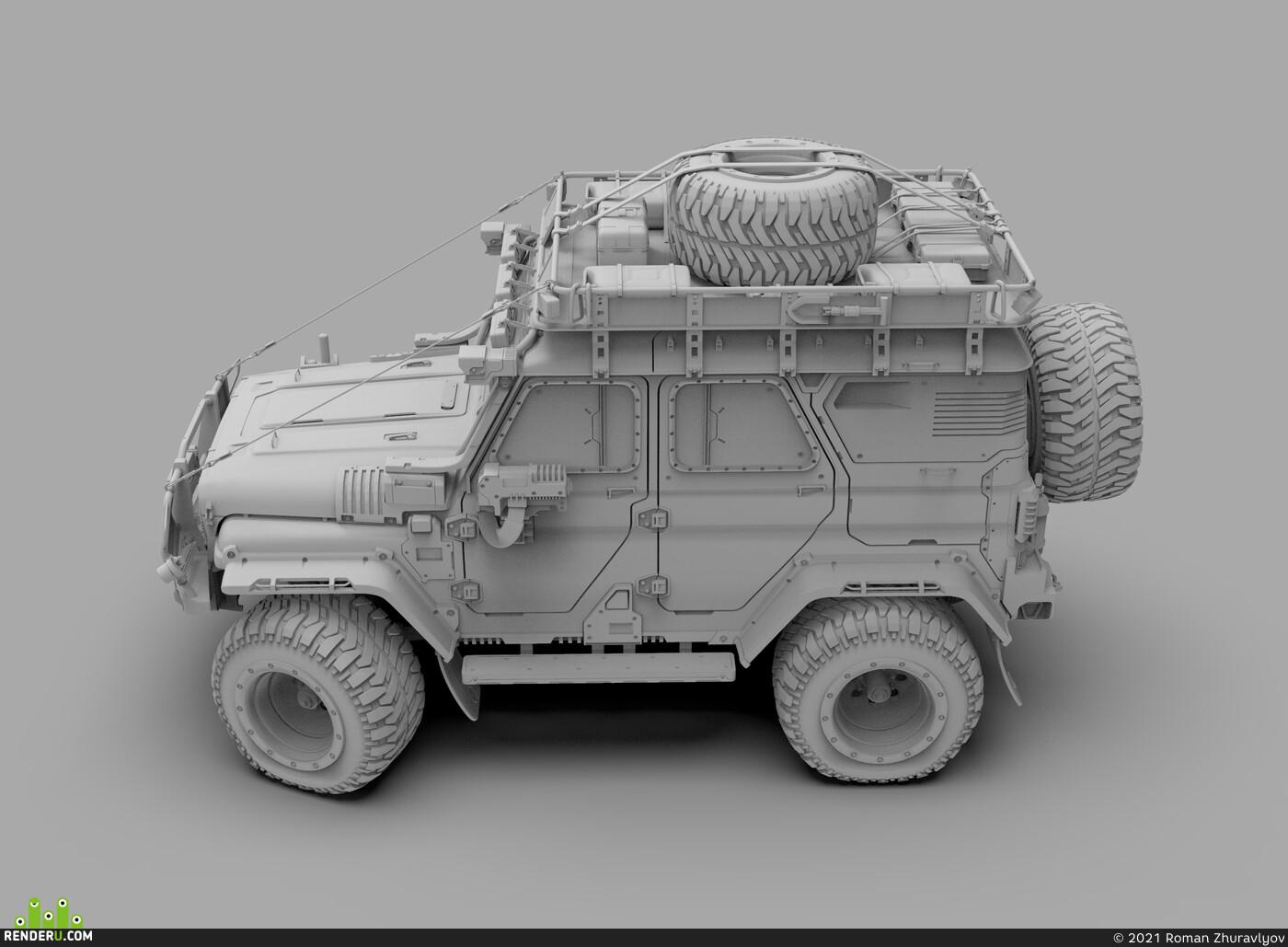 Cyberpunk 2077, Transport & Vehicles, RUSSIAN CYBERPUNK, ROMANZHURAVLYOV, gameart, hardsurfaces, cardesign, UAZ, hunter, automotive