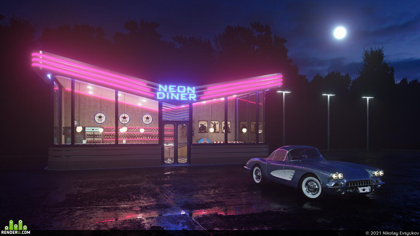 neon, diner, retro, chevrolet