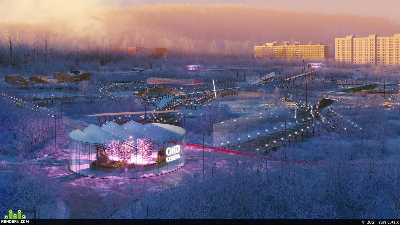 Aurora Borealis, night, north, river, sunlight, winter, ДОЛИНА УЮТА, МУРМАНСК, Россия