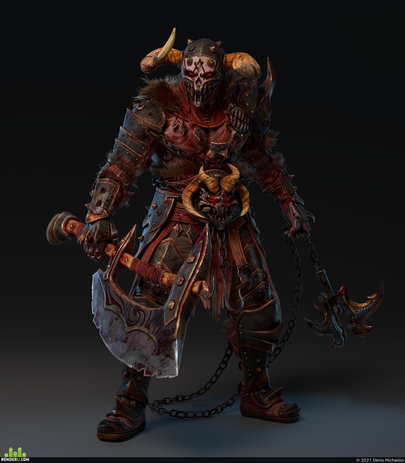 berserker, warrior, helmet, thorns, Amulets, skull, fantasy art, Rage, barbarians, armor