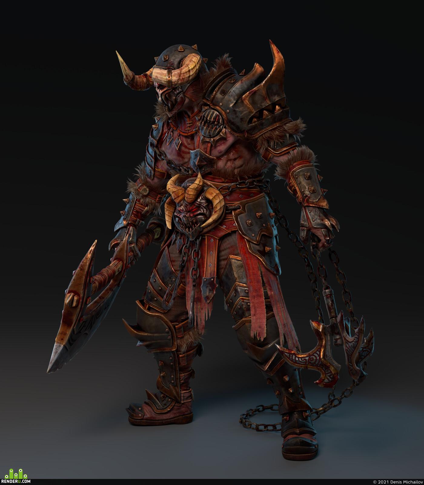 варвар, берсерк, топор, рога, череп, шлем, ярость, броня, фентези, Концепт-арт