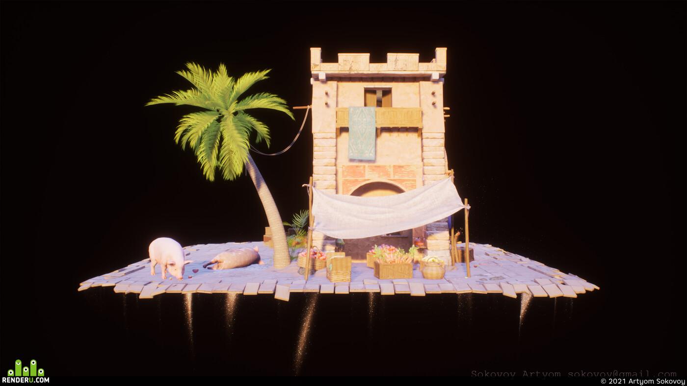 sandstone, stylized, substance designer, blender, Unreal Engine