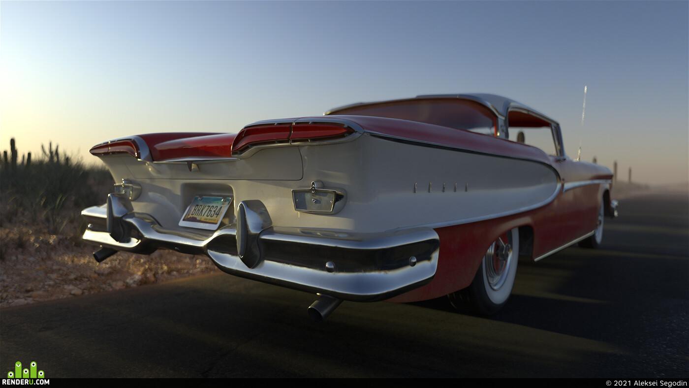 edsel, corsair, 1958, Vintage, antique, PBR, red, Old, car, Vehicles