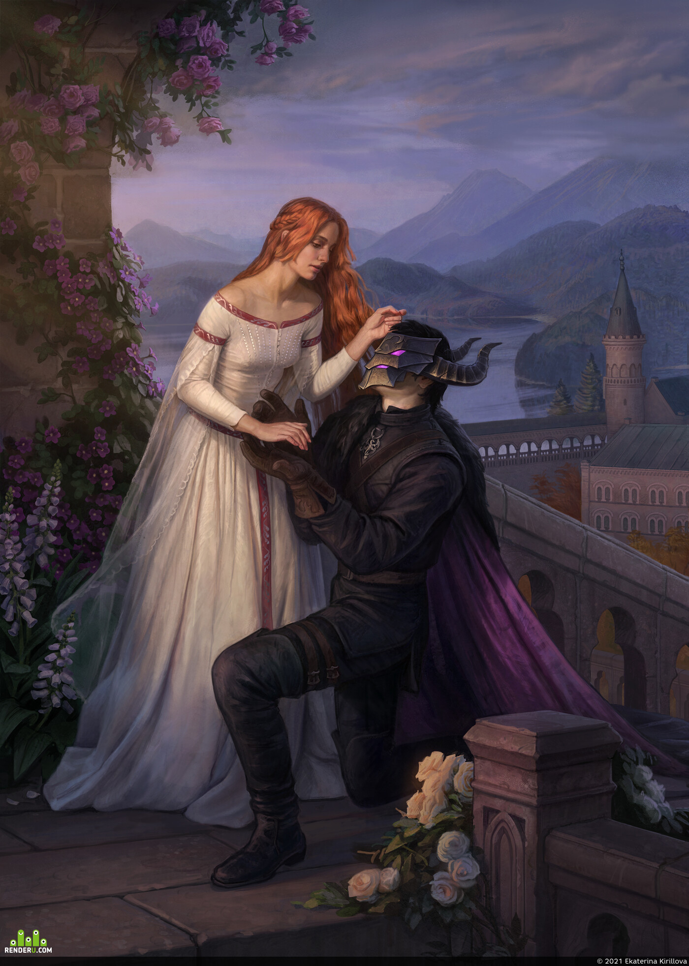 medieval, illustration, knight, lady, sunset, People, Characters